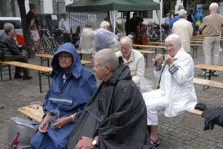eldlery: CopenhagenDenmark 12 July 2015_  Senior citizen dane listening Jazz music at Copenhagen Jazz Festival