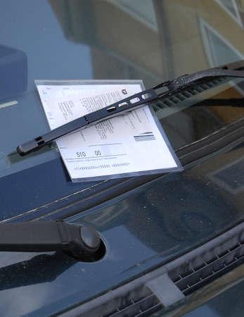 parking ticket: Kastrup.Copenhagen.Denmark  14 July  2015 _Parking car got parking ticket fine on kastruplundgade