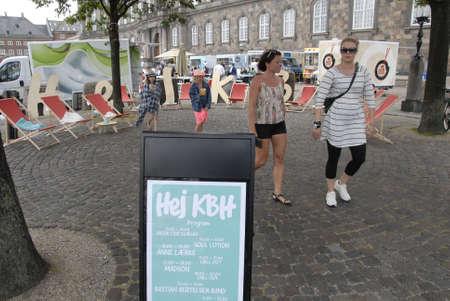 pubic: CopenhagenDenmark 18 July 2015_ Pubic enjoying food at Copenhagen Food festival infront danish parliament building Christiansborg Palace