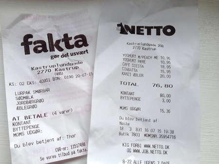 fakta: Kastrup.Copenhagen.Denmark  22 July  2015   Two hrocery bills from Netto and Fakta