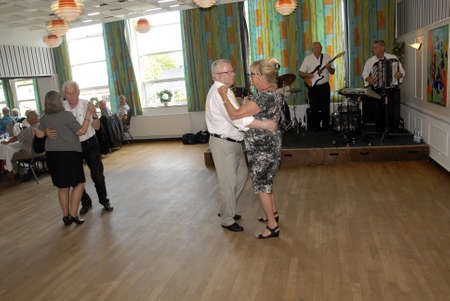 SKaevinge Denmark 23 July 2015_  Mayor Henrik Zimino of Taarnby council participate to celebrate 75 years  Taarnby council senior picnic tour hold party at Skaevinge Kro restaurant  taarnby council  first senior picnic tour were started  in 1940