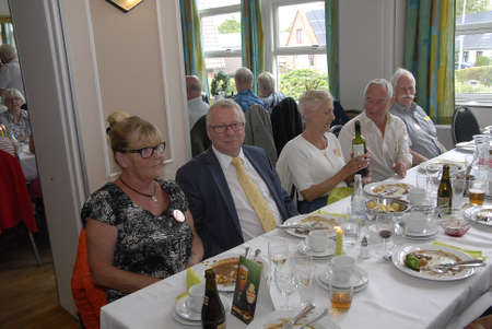 eldlery: SKaevinge Denmark 23 July 2015_  Mayor Henrik Zimino of Taarnby council participate to celebrate 75 years  Taarnby council senior picnic tour hold party at Skaevinge Kro restaurant  taarnby council  first senior picnic tour were started  in 1940