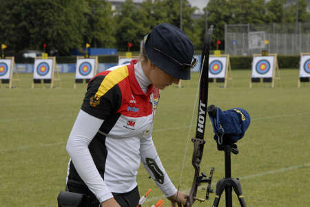 richter: CopenhagenDenmark 29 July 2015_Elena Richter from Germany during her sport seassion at World Archery Championshiips 26 july - 2 august 2015 in Copenhagen, Denmark Editorial