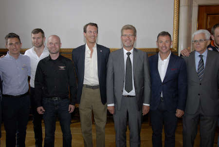 prince of denmark: CopenhagenDenmark 31 July 2015_ H.R.H prince Joachim and son prince Henrik prince Joachim as protactor of Copenhagen Historic Grand Prixs opening reception at Copenhagen Town Hall Lord Mayor Frank Jensen welcome t city hall  motor sports racing driver  Editorial