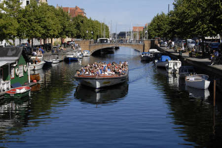 heart heat: CopenhagenDenmark 13 August  2015 -Life by Visitors and local  at Christianshavn  canal most famous and visting canal in Amager island in heat of Copenhagen heart