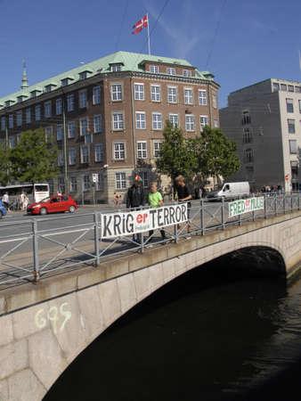 ministry: CopenhagenDenmark 22 August  2015_ Dannebrg flys over ministry of defence