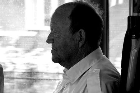 CopenhagenDenmark 22 August  2015_ Senior bus passenger during his joruney