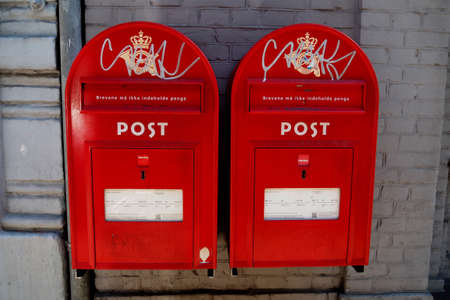red post box: CopenhagenDenmark 22 August  2015_  Two danish red post box