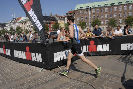 ironman: CopenhagenDenmark 23 August  2015_Sports fans watch Ironman  sports event today on sunday