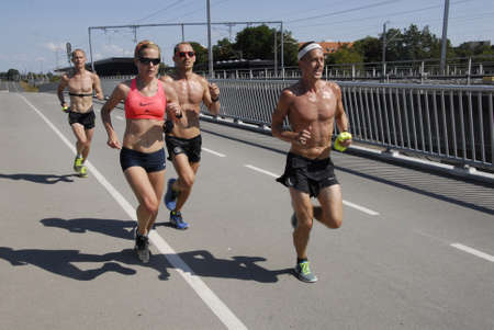 keep fit: CopenhagenDenmark 23 August  2015_Group running to keep fit for maraton