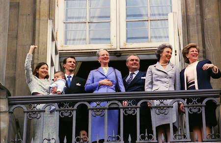 prince of denmark: COPENHAGENDENMARK. 16 April file Images year is unkonw)H.M.The Queen Margrethe birthday celebration year is unknown image is taken on 16 april year unkown and Queen Margrethe ,Prince henrik Princess benddedikt queen anne marie price joachim and his forme