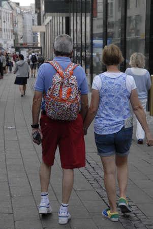 visitors: CopenhagenDenmark 24 August  2015_ Foreign visitors on strogoet in Copenhagen Editorial
