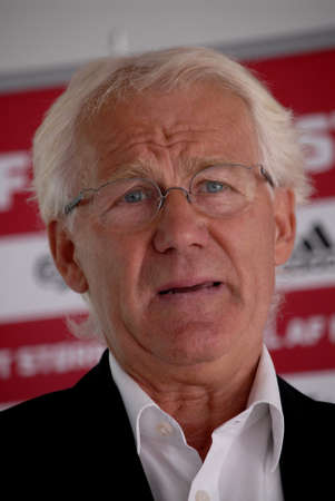 albanian: CopenhagenDenmark 25 August  2015_ Morten Olsen danish football team head coach  holds press briefing  and high the players and matches  between Denmark V Albanian and Denmark V Armenian at brondby DBU head office today