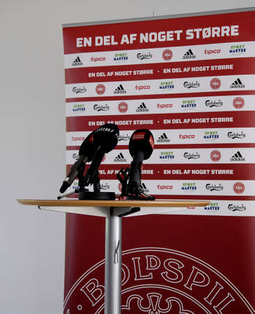 high light: CopenhagenDenmark 25 August  2015_Jakob Hoyer head of communication of DBU danish ball union briefing press about head coach Morten Olsen will high light upcomming matchs at brondby at DBU office today Editorial
