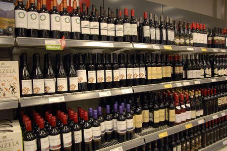 CopenhagenDenmark 27 August  2015_  Various brand wines at grocery store