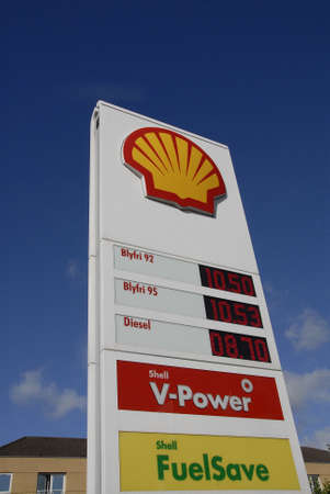 01: Kastrup.Copenhagen.Denmark  01 September  2015  _Shell gasoline station Editorial