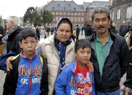 seeker: CopenhagenDenmark 12th September   2015_Family Daved Belkhi are afgan refugees ayslum seeker aarived 6 ago in Denmark and they are at Refugee Welome rally christiansborg slots plads