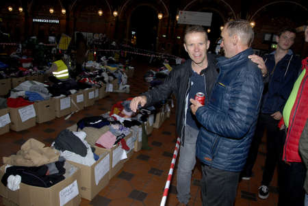 goods train: COPENHAGENDENMARK.   13the September 2015   _Valunteer assistant refugees centre at Copenhagen Central Train Station these all goods in centre are more in order then 3 days  less migrartion refugeesa re reaching to Center in Copenhagen