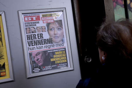 alexandra: CopenhagenDenmark 20th September  2015_  Danish tabloid with story Prince Joachim a former wife princess Axelandra in process her 2nd divorced from Martin  jorgensen and now she is countess Alexandra Editorial