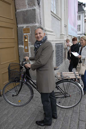 pres: CopenhagenDenmark 21th September  2015_ Francois Zimeray French ambassador to Denmark arrives by bicycle at embassy and high lights Franch -Danish relationship,and his life after terroest attach in cafe this last February in Copenhagen at Danish Nationa