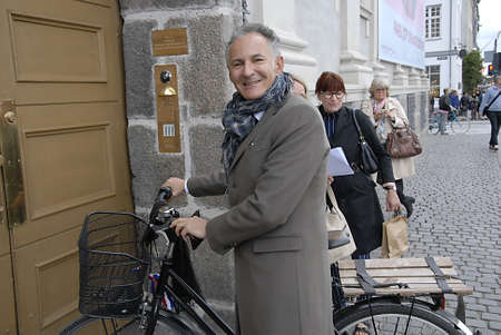 ambassador: CopenhagenDenmark 21th September  2015_ Francois Zimeray French ambassador to Denmark arrives by bicycle at embassy and high lights Franch -Danish relationship,and his life after terroest attach in cafe this last February in Copenhagen at Danish Nationa
