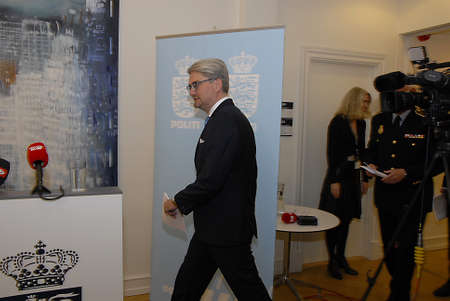 Copenhagen/Denmark/ 22th September  2015_    Danish Minister for justice Soren Pind in center on his left Jens Henrik  Hojbjerg police comssioner for national police (Rigspolitichef)  and on his right Finn Borch Andersen from PET acting boss for  danish s