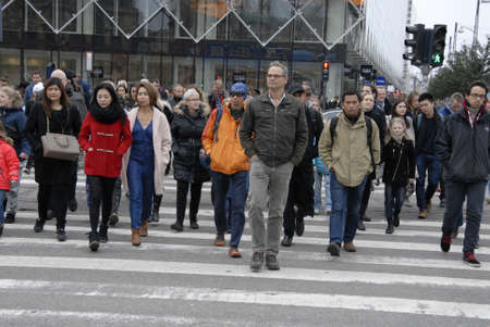 vacationers: CopenhagenDenmark _ 24the October 2015  _Saturday shoppers on rush Editorial
