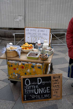 sued: CopenhagenDenmark _ 04 November  2015__   Young dame female valunteer sued thie own cash and baked kages and coffe and market for small cash to help youth in solamiland Editorial