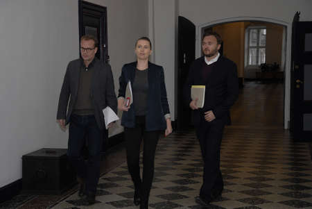 democrat party: CopenhagenDenmark _ 24th November  2015   _Ms.Mette Frederiksen chairwoman of danish social democrat party talking to media before going into meeting with political aprties and minister for finance and migration at ministry for finance Editorial