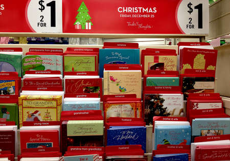 Lewison Idaho USA_ 06 December  2015 _Christnas items on sale xmas santa coke cards and trees and other items to celebrate christmas     (Photo by Francis Joseph DeanDeanpictures) Editorial