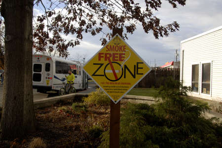 Lewiston Idaho USA_ 09 December  2015 _ Smoke free zone infront of community centre in Walley Editorial