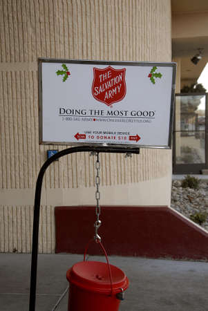 Lewiston Idaho USA_ 09 December  2015 _  Donation collecting for Salvation army for chrstmas charity Editorial
