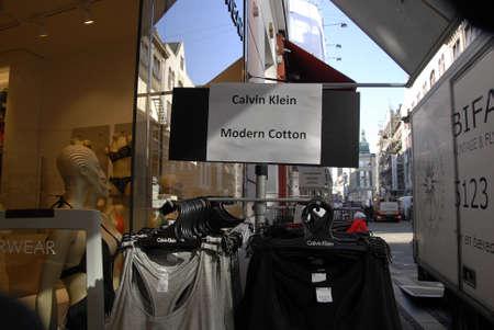 17 march: CopenhagenDenmark _ 17 March  2016_  American Calvin Klein design modern cotton underwears display in shop on stroget in Copenhagen Denmark
