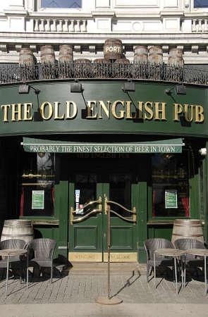old english: CopenhagenDenmark _ Monday 21 March  2016_ The old english pub on Vesterbrogade in Copenhagen Editorial