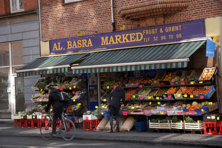 CopenhagenDenmark _ 21 March  2016_ Integration  Al Basra Marked  grocery store own by immigrant