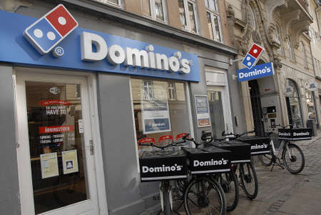 CopenhagenDenmark _ 24 March  2016_American chain Dominos pizza delivery by Dominos bicycles