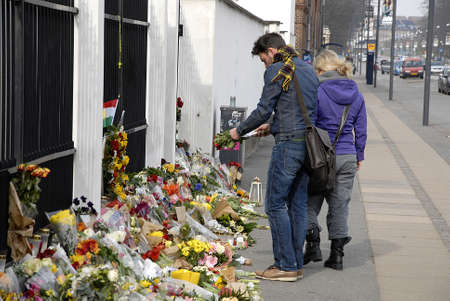 easter sunday: CopenhagenDenmark _ 27 March  2016_On easter sunday People still  pay tribute to Brussel terror victims laying flowers at Belgian Embassy in Copenhagen Denmark