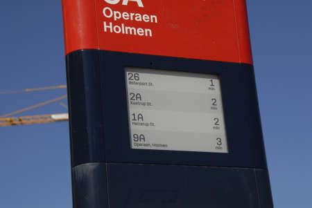 timing: COPENHAGEN  DENMARK_ 01 April 2016 _New transport informtion with bus timebale timing digital clock