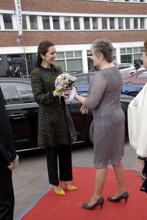 prince of denmark: COPENHAGEN  DENMARK_ 15 April 2016 _ H.R.H Crown Pprincess Mary arrives for opening  new health and social institue (school) ceremony the Social and health school for SOPU for public sector and also celebrate 25 years at students for education center pri