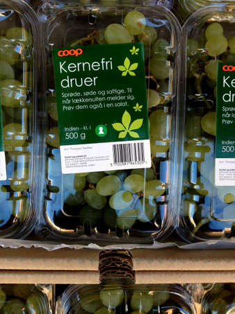 fakta: Copenhagen Kastrup.Denmark 20 April  2016  _Stone free grapes and various on daily rates at Fakta food and vegs market on Kastruplundgade Editorial