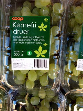 fakta: Copenhagen Kastrup.Denmark 20 April  2016  _Stone free grapes and various on daily rates at Fakta food and vegs market on Kastruplundgade   .