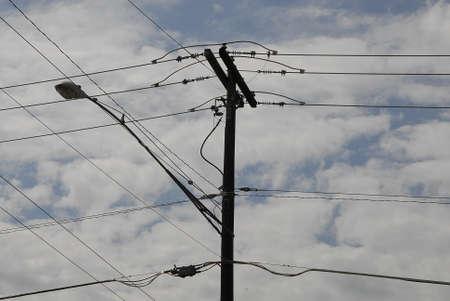 unites: Lewiston Idaho USA- 26 May 2016_  Electric pole   old wooden pole