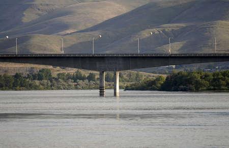 Lewiston Idaho USA- 31 May 2016_ Bryden bridge link over anke river  Lewiston Idaho to Clarkston Washington state