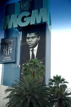 unites: Los VegasNevada USA- 04 June 2016_  Various casino paying tribute to Late  Muhammad Ali legden boxer have pic picture on marques after his death  in Los Vegas Nevada, USA . Editorial