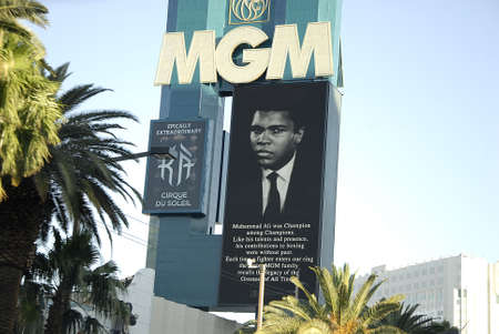 ali: Los VegasNevada USA- 04 June 2016_  Various casino paying tribute to Late  Muhammad Ali legden boxer have pic picture on marques after his death  in Los Vegas Nevada, USA  .
