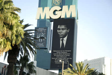 Los VegasNevada USA- 04 June 2016_  Various casino paying tribute to Late  Muhammad Ali legden boxer have pic picture on marques after his death  in Los Vegas Nevada, USA   .