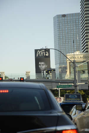 lewiston: Los VegasNevada USA- 04 June 2016_  Various casino paying tribute to Late  Muhammad Ali legden boxer have pic picture on marques after his death  in Los Vegas Nevada, USA  .