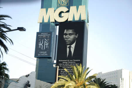 muhammad: Los VegasNevada USA- 04 June 2016_  Various casino paying tribute to Late  Muhammad Ali legden boxer have pic picture on marques after his death  in Los Vegas Nevada, USA  .
