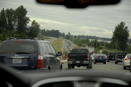 autos: Highway 161 near seattleWashington USA- 09 June 2016_  Traffic jamed on  highway 161