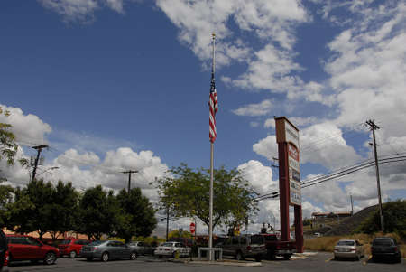 lewiston: Lewiston Idaho USA- 16  June 2016_Amercain flag at half mast tp pay respect to 49 dead and 50 injured in terrorest shooting killing Orlando,Florida,USA                 _